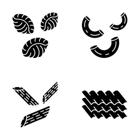 Pasta noodles glyph icons set. Different Mediterranean macaroni. Shells, elbows, penne, lasagne sheets. Types of dry dough products. Italian cuisine. Silhouette symbols. Vector isolated illustration