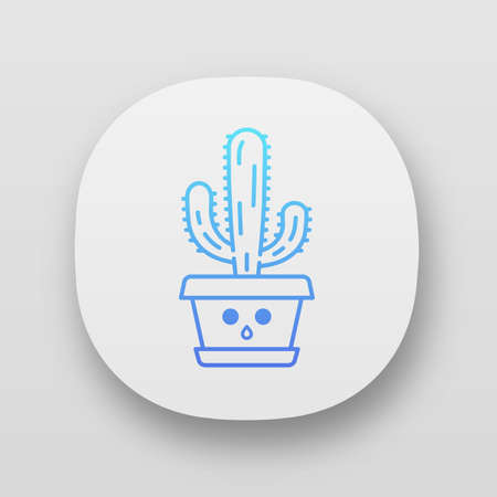 Elephant cactus app icon. Pachycereus with hushed face. Home cacti in pot. Mexican giant cardon. Amazed plant. UIUX user interface. Web or mobile applications. Vector isolated illustrations  イラスト・ベクター素材