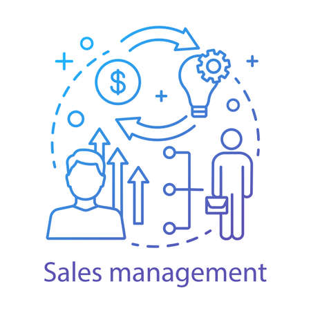 Sales management concept icon. CRM system idea thin line illustration. Financial growth. Marketing strategy. Customer relationship management. Vector isolated outline drawing
