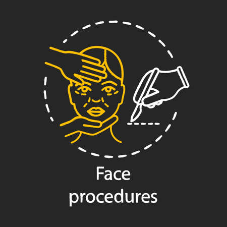 Face procedure chalk icon. Plastic and reconstructive surgery. Invasive facial treatment. Aging skin. Face contouring. Cosmetic surgery. Isolated vector chalkboard illustration