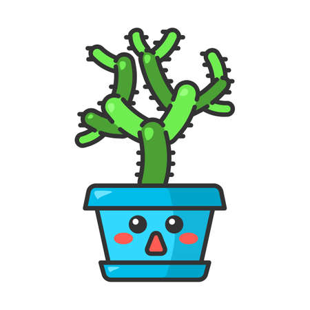 Teddy bear cholla cute kawaii vector character. Cactus with astonished face. Flushed Cylindropuntia. Home cacti in pot. Tropical plant. Funny emoji, emoticon. Isolated cartoon color illustration Illustration