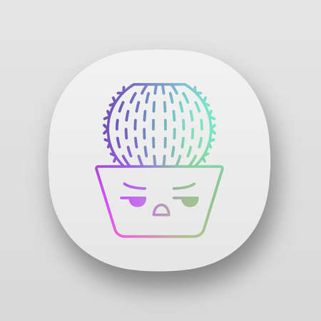 Barrel cactus app icon. Cactus with angry face. Echinocactus home cacti in pot. Unhappy plant with frowning eyebrows. UIUX user interface. Web or mobile applications. Vector isolated illustrations