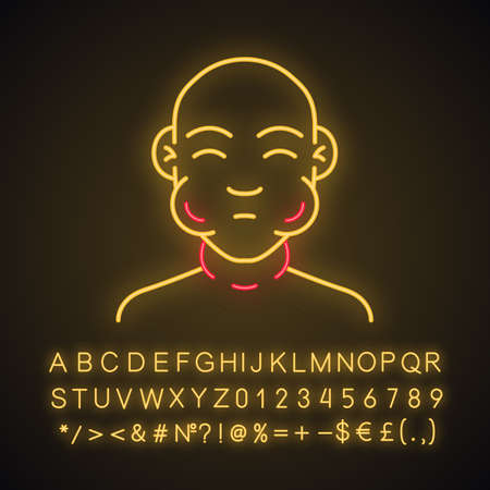 Face swelling neon light icon. Food allergy symptom. Anaphylaxis allergic reaction. Mumps contagious disease. Glowing sign with alphabet, numbers and symbols. Vector isolated illustration