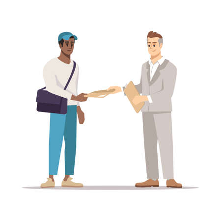 Delivering document to addressee flat illustration. Courier, errand boy giving envelope, parcel isolated cartoon character on white background. Businessman, manager receiving business correspondence Stock Illustratie