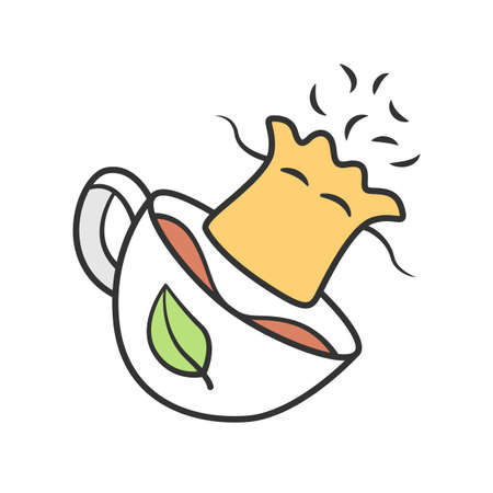 Reusable tea bag color icon. Zero waste recyclable container for tea infusing. Disposable paper bags for herbs infusion. Isolated vector illustration Imagens - 128322808
