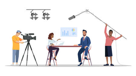 Journalistic interview at studio flat vector illustration. News reporter, video operators, cameraman isolated cartoon characters. Interviewer with famous entrepreneur, actor. Press, mass media concept Illustration