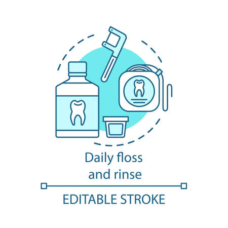 Daily floss and rinse concept icon. Prevent tooth decay and cavities. Dental floss, mouthwash. Oral hygiene routine idea thin line illustration. Vector isolated outline drawing. Editable stroke