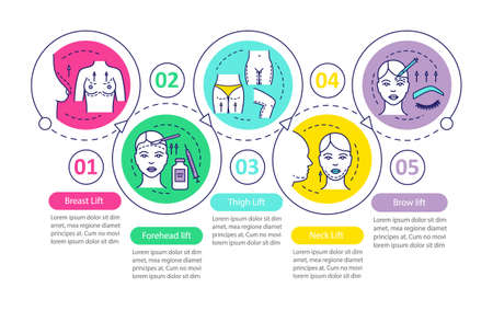 Cosmetic lifting procedure vector infographic template. Business presentation design elements. Data visualization with five steps and options. Process timeline chart. Workflow layout with linear icons Ilustração