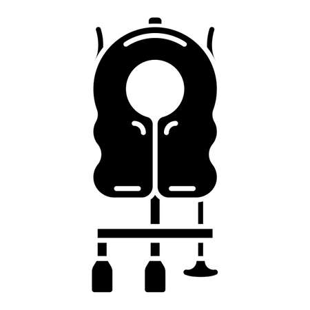 Aircraft passenger life vest glyph icon. Airplane lifesaver. Plane safeness. Safety measures. Aviation service. Aircraft travel. Silhouette symbol. Negative space. Vector isolated illustration