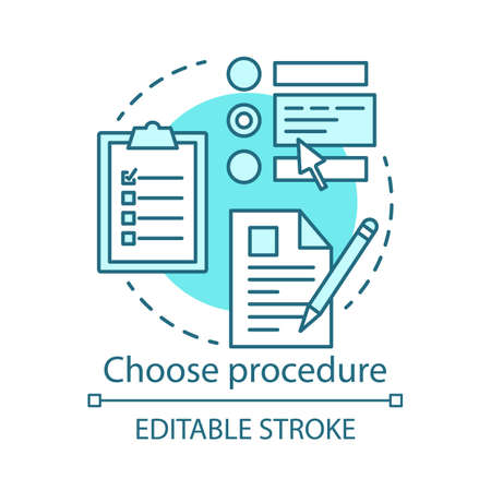 Choose procedure concept icon. Medical treatment idea thin line illustration. Healthcare and medicine. Hospital procedures. Vector isolated outline drawing. Editable stroke  イラスト・ベクター素材