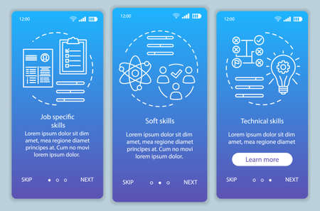 Skills blue gradient onboarding mobile app page screen vector template. Professional qualities walkthrough website steps with linear illustrations. UX, UI, GUI smartphone interface concept