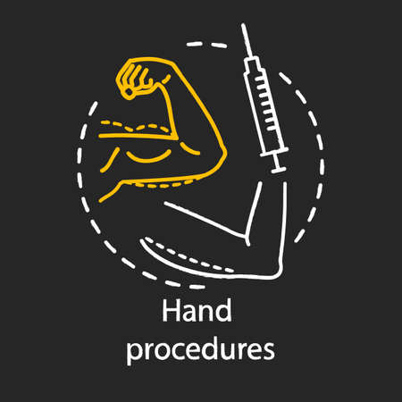 Hand procedures chalk icon. Body contouring surgery. Lifting procedure. Plastic surgery subspecialty. Reconstructive operation. Syringe. Isolated vector chalkboard illustration