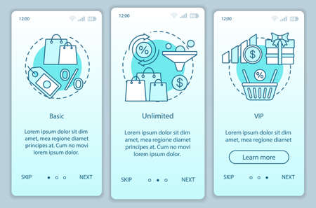 Discounts & bonuses subscription onboarding mobile app page screen vector template. Basic, VIP tariffs. Walkthrough website steps with linear illustrations. UX, UI, GUI smartphone interface concept