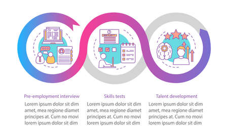 Skills vector infographic template. Business presentation design elements. Employment. Data visualization with 3 steps and options. Process timeline chart. Workflow layout with linear icons Stock Vector - 129557748