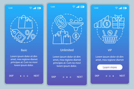 Discounts & bonuses subscription onboarding mobile app page screen vector template. Walkthrough website steps with linear illustrations. Basic, VIP tariffs. UX, UI, GUI smartphone interface concept
