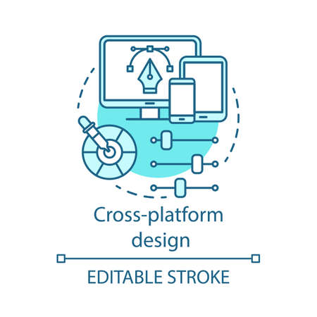 Cross platform user interface design concept icon. Responsive app UI development, usability idea thin line illustration. Adaptive application GUI, UX. Vector isolated outline drawing. Editable stroke