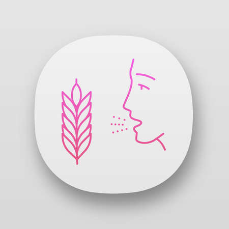 Wheat allergy app icon. Allergic asthma, rhinitis. Gluten intolerance. Inhalation of allergens. Seasonal allergy. UI/UX user interface. Web or mobile applications. Vector isolated illustrations