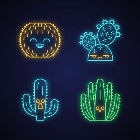 Cactuses cute kawaii neon light characters. Plants with sad face. Laughing barrel wild cacti. Funny emoji, emoticon set. Glowing icons with alphabet, numbers, symbols. Vector isolated illustration Illustration