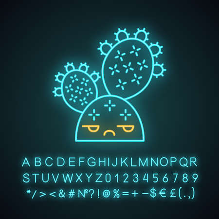Prickly pear cactus cute kawaii neon light character. Cactus with unamused face. Opuntia. Wild cacti. Funny emoji, emoticon. Glowing icon with alphabet, numbers, symbols. Vector isolated illustration Illustration