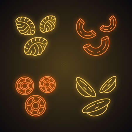 Pasta noodles neon light icons set. Different Mediterranean macaroni. Shells, elbows, rotelle, orecchiette. Types of dry dough products. Italian cuisine. Glowing signs. Vector isolated illustrations