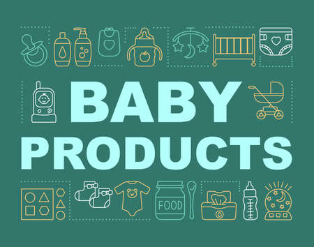 Baby products concepts banner. Presentation, website. Feeding bottle, kids toiletry, radio nanny. Isolated lettering typography idea with linear icons. Childcare. Vector outline illustration