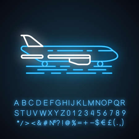 Airport outside neon light icon.Plane runway. Airplane landing strip. Aerodrome building. Jet airfield. Air terminal. Glowing sign with alphabet, numbers and symbols. Vector isolated illustration