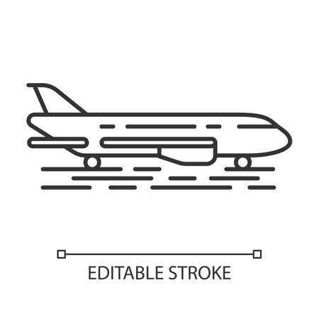 Plane on ground linear icon. Jet runway. Airplane landing strip. Air terminal. Aviation service. Thin line illustration. Contour symbol. Vector isolated outline drawing. Editable stroke