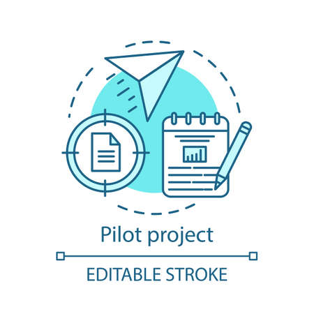 Pilot project concept icon. Startup. Business plan. Movement to goal. Start program. Strategic management idea thin line illustration. Vector isolated outline drawing. Editable stroke