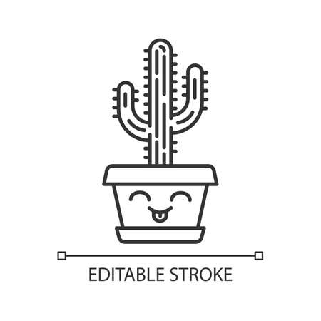 Saguaro cute kawaii linear character. Cactus with smiling face. Home cacti with tongue out. Happy tropical plant in pot. Thin line icon. Vector isolated outline illustration. Editable stroke