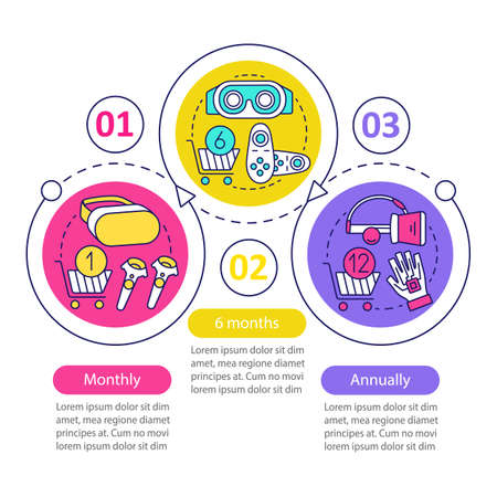 VR game subscription vector infographic template. Business presentation design elements. Monthly tariff. Data visualization, three step, option. Process timeline chart. Workflow layout, icons