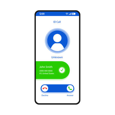 ID call smartphone interface vector template. Mobile app page white design layout. Unknown number, caller identification, spoofing screen. Flat UI for application. Spam blocking feature. Phone display