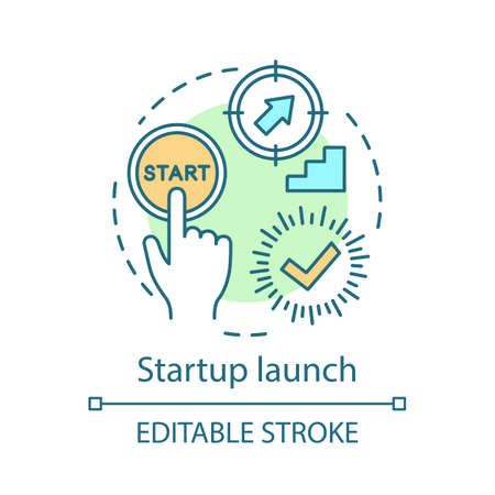 Startup launch concept icon. Project beginning. Initiation of change. Open new business. Movement to goal start idea thin line illustration. Vector isolated outline drawing. Editable stroke