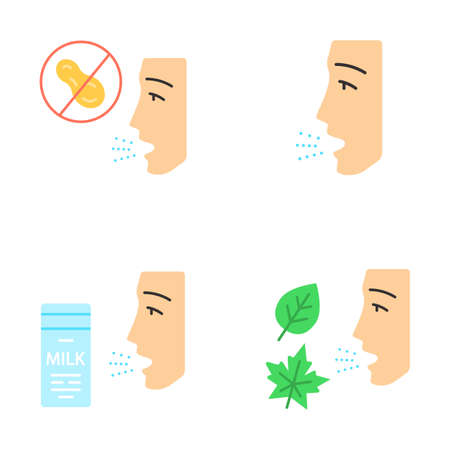 Allergies flat design long shadow color icons set. Peanut, milk, dust, mold intolerance. Causes and symptoms of allergic diseases. Hypersensitivity of immune system. Vector silhouette illustrations
