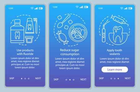 Caries prevention onboarding mobile app page screen vector template