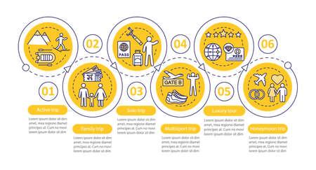 Modèle d'infographie vectorielle de styles de voyage. Tour de luxe. Éléments de conception de présentation d'entreprise. Visualisation des données avec six étapes et options. Diagramme de chronologie de processus. Disposition du flux de travail avec des icônes linéaires