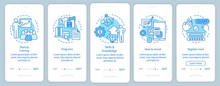 Écran de page d'application mobile d'intégration de l'éducation au démarrage avec des concepts linéaires. Instructions graphiques pour l'amélioration des compétences commerciales. Modèle vectoriel UX, UI, GUI avec illustrations Vecteurs