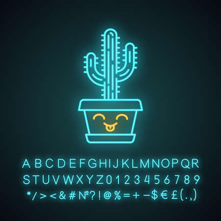 Saguaro cute kawaii neon light character. Cactus with smiling face. Happy home cacti in pot. Funny emoji, emoticon. Glowing icon with alphabet, numbers, symbols. Vector isolated illustration