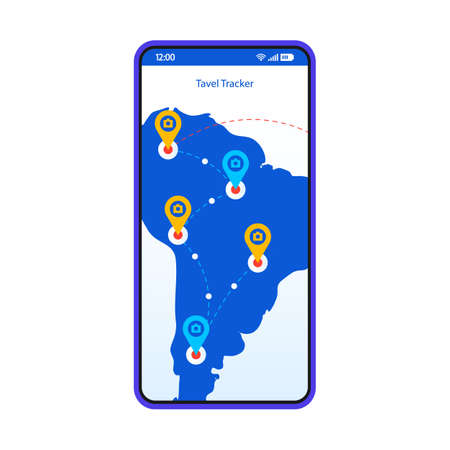 Travel tracker app smartphone interface vector template. Mobile trip planner page design layout. Tourist route, destination search screen. GPS tracking application flat UI. Phone display with map pins