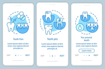 Disease symptoms onboarding mobile app page screen with linear concepts. Cavities and tooth decay walkthrough steps graphic instructions. UX, UI, GUI vector template with illustrations