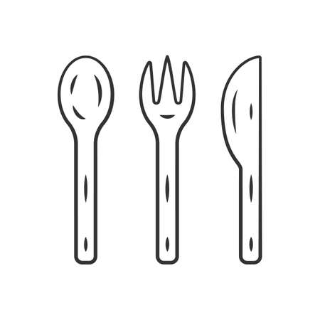 Reusable bamboo cutlery set linear icon. Zero waste recyclable kitchen tableware. Eco fork, knife, spoon. Thin line illustration. Contour symbol. Vector isolated outline drawing. Editable stroke