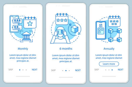 AR tool subscription onboarding mobile app page screen with linear concepts. Three walkthrough steps graphic instructions. Monthly or annually tariffs. UX, UI, GUI vector template with illustrations