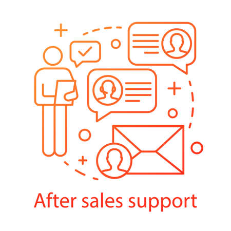 After sales support concept icon. Help desk service idea thin line illustration. Product guarantee. Customer relationship management. CRM system. Vector isolated outline drawing 일러스트