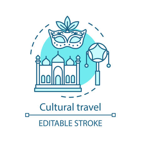 Cultural travel concept icon. Travel experience idea thin line illustration. Local residents way of life. Customs and traditions of foreign culture. Vector isolated outline drawing. Editable stroke