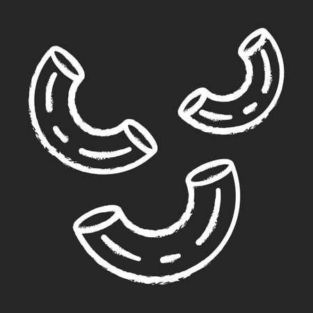 Elbows pasta chalk icon. Traditional Italian macaroni. Sedani, stortini, gramigne. Bent tubes of dough. Mediterranean cuisine. Dry semifinished product. Isolated vector chalkboard illustration 일러스트