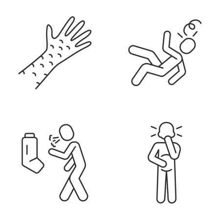 Seasonal allergy symptoms linear icons set. Skin rash allergic reaction. Asthma, bronchitis. Dizziness, fainting thin line contour symbol. Isolated vector outline illustrations. Editable stroke Ilustracja