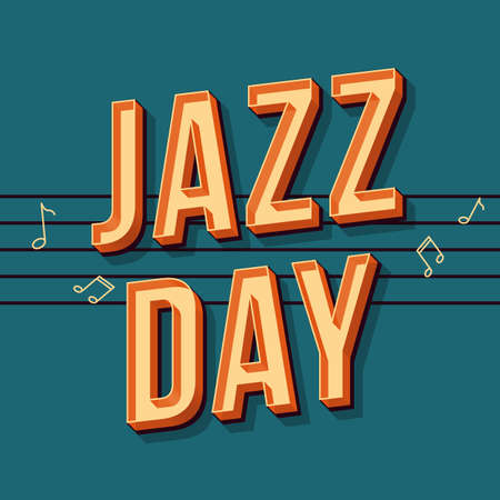 Jazz day vintage 3d vector lettering. Retro bold font, typeface. Pop art stylized text. Old school style letters. 90s, 80s concert promo poster, banner typography design. Dark blue color background