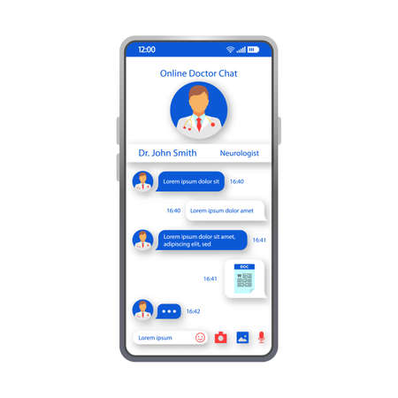 Online doctor chatting smartphone interface vector template. Mobile healthcare app layout. Online doctor consultation screen. Flat UI for medical application. Live chat with therapist phone display Иллюстрация