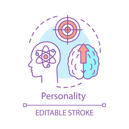 Personality concept icon. Brain thinking process idea thin line illustration. Personal growth, purposefulness. Psychology. Aim achieving vector isolated outline drawing. Editable stroke