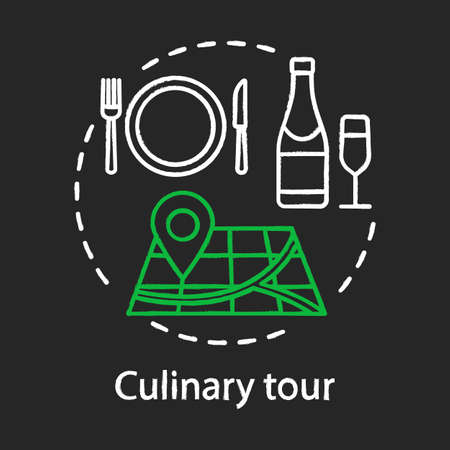 Culinary tour chalk concept icon. Travel experience idea. Cuisine of foreign country. National gastronomy. Tasting local dishes. Vector isolated chalkboard illustration