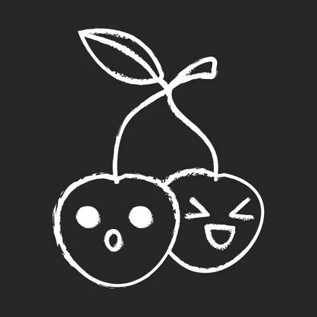 Cherries cute kawaii chalk character. Happy and astonished berries with smiling faces. Laughing and frowned food. Funny emoji, emoticon, smile. Vector isolated chalkboard illustration Illustration